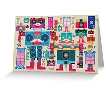 vintage robot and camera composition Greeting Card