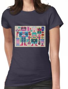 vintage robot and camera composition Womens Fitted T-Shirt