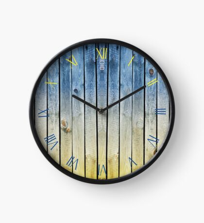 Yellow blue toned boards texture Clock
