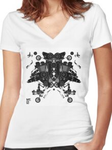 black motorbike robot 1 Women's Fitted V-Neck T-Shirt