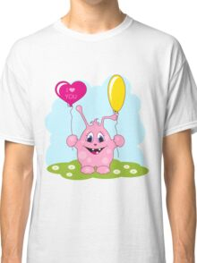 Cute pink monster loves you Classic T-Shirt
