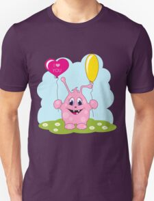 Cute pink monster loves you Unisex T-Shirt