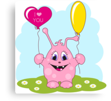 Cute pink monster loves you Canvas Print
