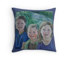 Family Portrait at the Beach Throw Pillow