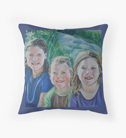 Family Portrait at the Beach Throw Pillow