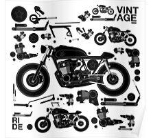 vintage motorbike cafe racer Poster