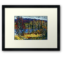 Autumn landscape in Deer Lake park Framed Print