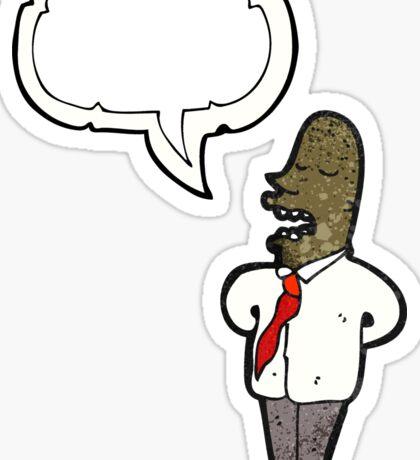 cartoon man with speech bubble Sticker