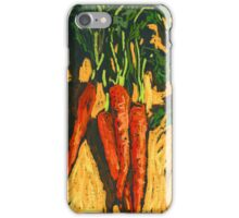 Red carrots on yellow table iPhone Case/Skin