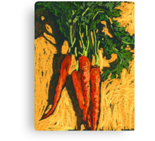 Red carrots on yellow table Canvas Print