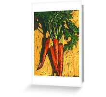 Red carrots on yellow table Greeting Card