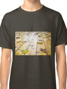 Selective focus on wet fallen autumn maple leaves closeup Classic T-Shirt