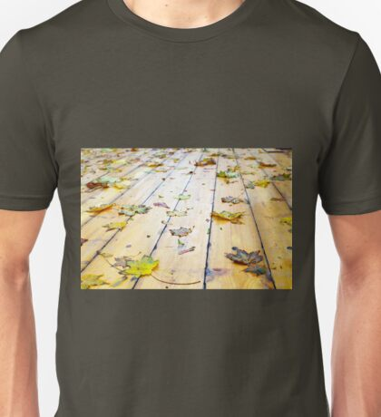 Selective focus on wet fallen autumn maple leaves closeup Unisex T-Shirt