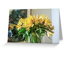Yellow flower arrangement in a home   Greeting Card