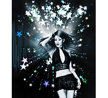 Dancing girl on stars background Photographic Print