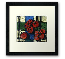 Tomatoes on a tablecloth Framed Print
