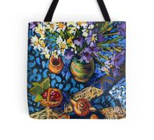 Still life with flowers, pots on a blue tablecloth Tote Bag