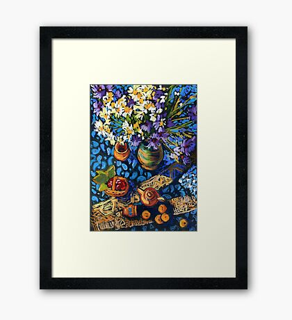 Still life with flowers, pots on a blue tablecloth Framed Print