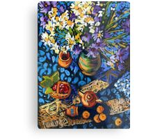 Still life with flowers, pots on a blue tablecloth Metal Print
