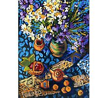 Still life with flowers, pots on a blue tablecloth Photographic Print