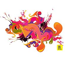 artistic Background of paint vibrant colors Photographic Print