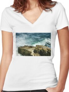 La Jolla California Mini Seal Rookery Women's Fitted V-Neck T-Shirt