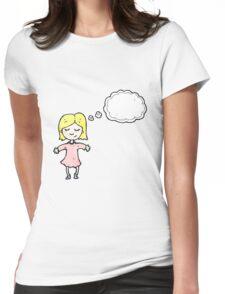 cartoon blond girl thinking Womens Fitted T-Shirt