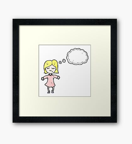 cartoon blond girl thinking Framed Print