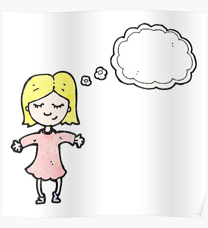 cartoon blond girl thinking Poster