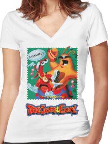 ToeJam & Earl (Mega Drive Art) Women's Fitted V-Neck T-Shirt