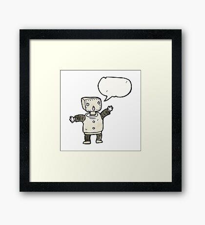 funny cartoon robot Framed Print