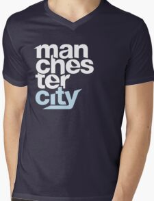 Manchester City Football Club - TEXT Mens V-Neck T-Shirt