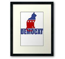 Democat democrat cat Funny Black Men's Tshirt Framed Print