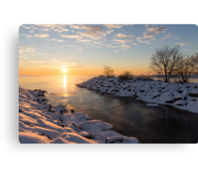 Brilliant, Bright and Cold - a Winter Morning on the Lake Shore Canvas Print