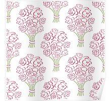 Rose bouquet seamless pattern. Hand drawn  background. Flower sketch wallpaper. Poster