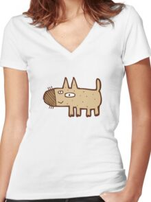 Little funny cartoon dog Women's Fitted V-Neck T-Shirt