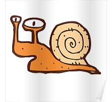 Cute funny cartoon snail Poster