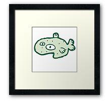 Little funny cartoon fish Framed Print
