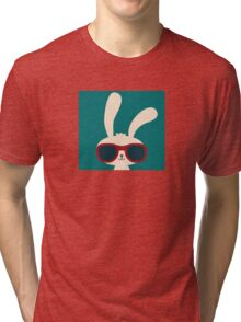 Cool easter bunny with sunglasses Tri-blend T-Shirt