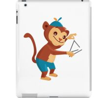 Cute cartoon monkey playing triangle iPad Case/Skin