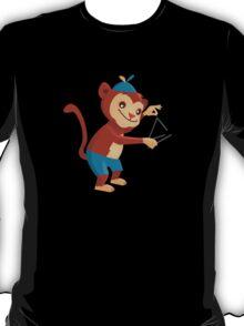 Cute cartoon monkey playing triangle T-Shirt