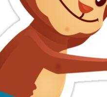Cute cartoon monkey playing triangle Sticker