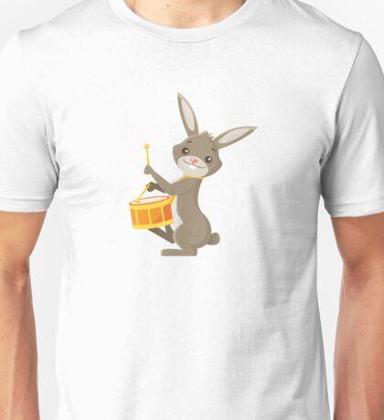 Funny cartoon rabbit playing drums Unisex T-Shirt