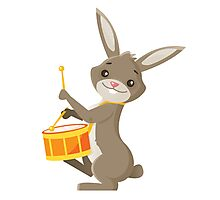 Funny cartoon rabbit playing drums Photographic Print