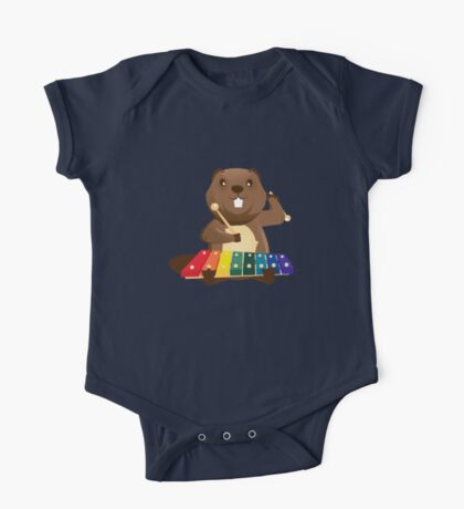Cute happy cartoon beaver playing xylophone One Piece - Short Sleeve