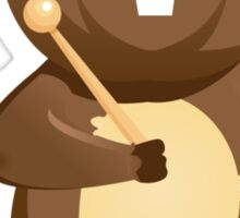Cute happy cartoon beaver playing xylophone Sticker