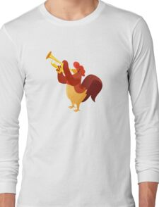 Funny cartoon rooster playing trumpet Long Sleeve T-Shirt