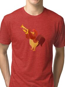 Funny cartoon rooster playing trumpet Tri-blend T-Shirt