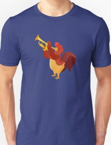 Funny cartoon rooster playing trumpet T-Shirt