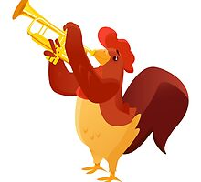 Funny cartoon rooster playing trumpet by berlinrob